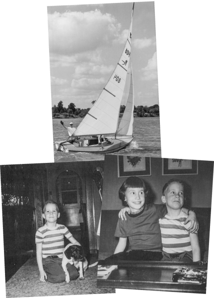 Rolla Edward at helm of Pud'n Pat, Lake Springfield, circa 1955. Mary Lynn, Pat and Peggy, 1951-52